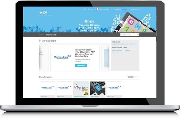 ADP Marketplace homepage loaded on a laptop