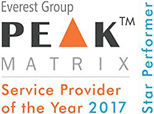 Everest Group Peak Matrix service provider of the year, star performer award for 2017